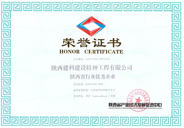 陕西省行业优秀企业荣誉证书